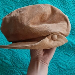 ❤️2/$25❤️ Brown khaki suede leather paperboy hat
